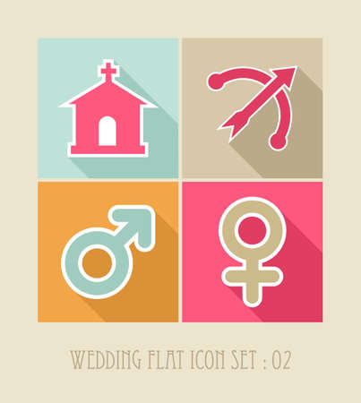 Wedding flat icon set, internet apps: ceremony details celebration planning.  Stock Vector - 21508328