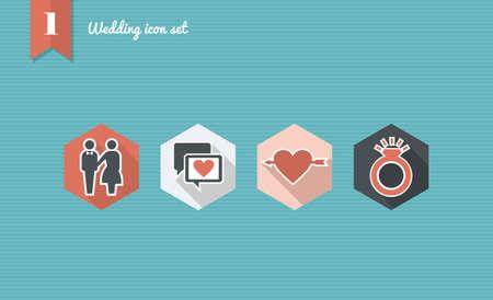 Wedding flat icon set, ceremony details celebration planning online app.