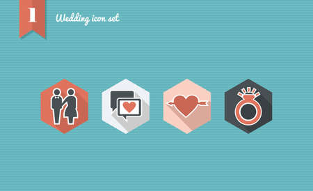 Wedding flat icon set, ceremony details celebration planning online app.  Vector