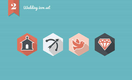 Wedding flat icon set, web app celebration planning ceremony reservation.  Vector