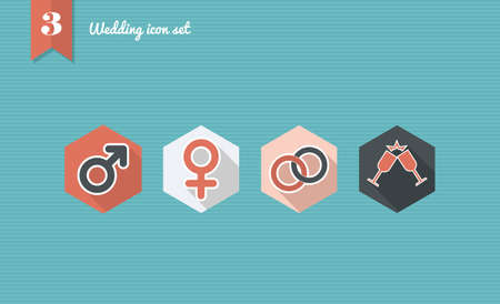 Wedding flat icon set, online app ceremony planning.  Vector