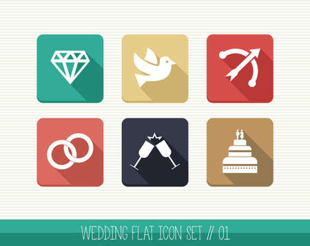 Wedding flat icon set, celebration relationship ceremony details web app.  Vector