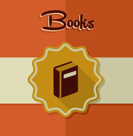 bibliography: Retro books icon gold label illustration.
