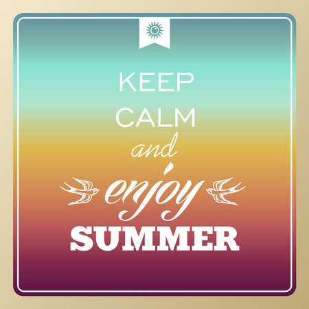 Vintage UK keep calm and enjoy summer poster, sun, sunset, sunrise illustration