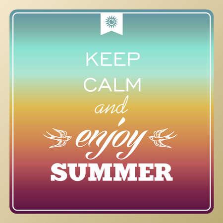 degrade: Vintage UK keep calm and enjoy summer poster, sun, sunset, sunrise illustration
