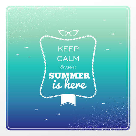 here: Retro keep calm summer is here poster sunglasses, water splash illustration