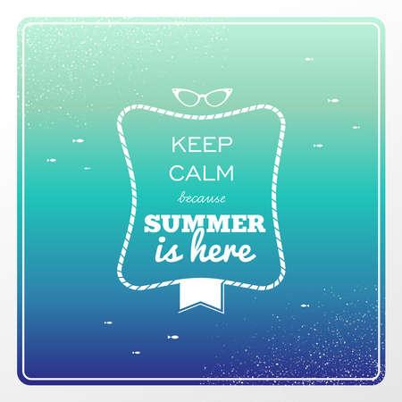 to degrade: Retro mantenga tranquilo verano est� aqu� sunglasses cartel, ilustraci�n salpicaduras de agua Vectores