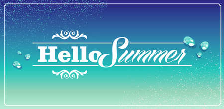 Retro hello summer vacations blue water drops background  Vector