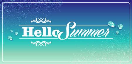 degrade: Retro hello summer vacations blue water drops background  Illustration