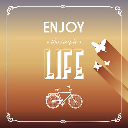 Retro hipsters butterfly bicycle, enjoy life wallpaper