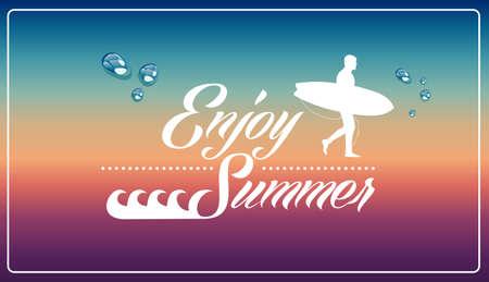 degrade: Vintage enjoy summer holidays man surfing board illustration  Illustration