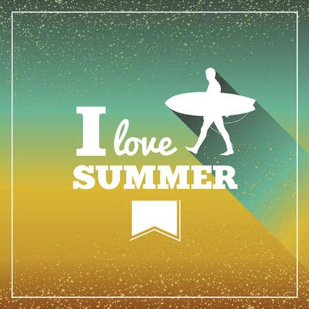 degrade: Retro i love summer text surfing board man poster concept  Illustration