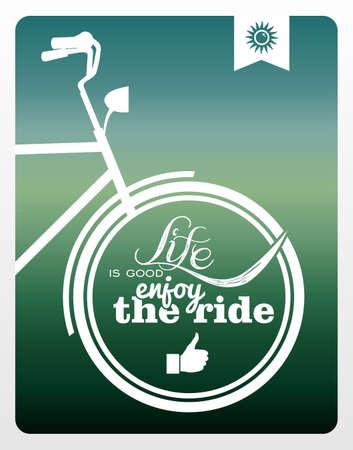Vintage hipster enjoy life bike background   Vector