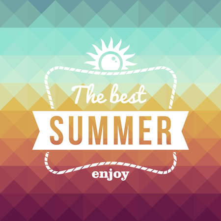 summertime: Vintage fashion the best summer enjoy poster, sun rope frame