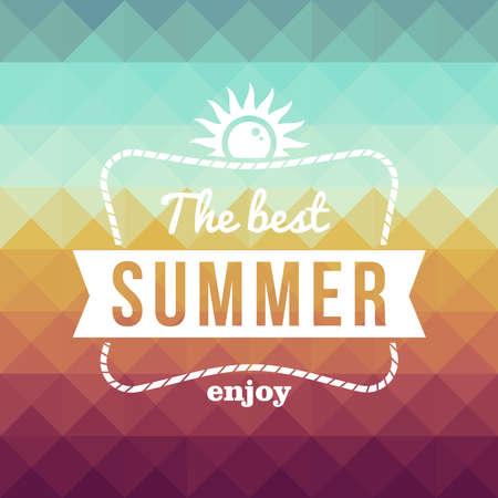 Vintage mode de beste zomer genieten poster, zon kabelframe Vector Illustratie