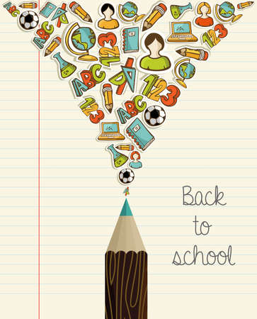 school notebook: Back to School icons education wood pencil over paper sheet background.