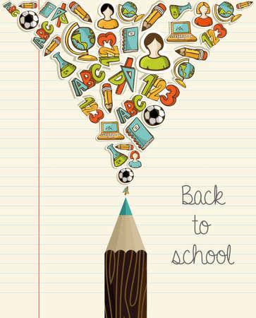 high schools: Regreso a la escuela Iconos madera educaci�n l�piz sobre fondo de hoja de papel. Vectores