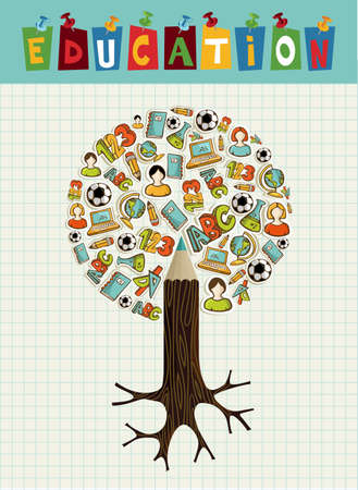 Back to school pencil tree global education icons grid sheet background.
