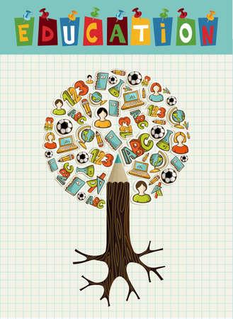 Volver a la escuela lápiz árbol educación iconos cuadrícula de fondo mundial de hoja. Foto de archivo - 21508254