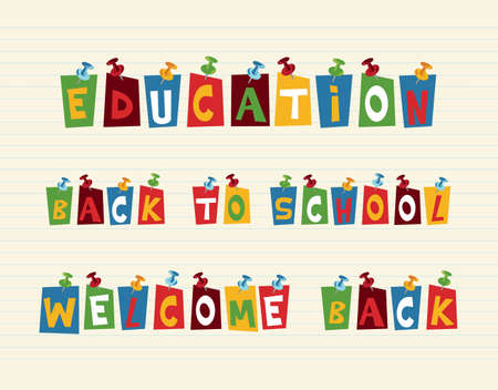 back icon: Education back to school pushpin colorful paper notes over paper sheet background.
