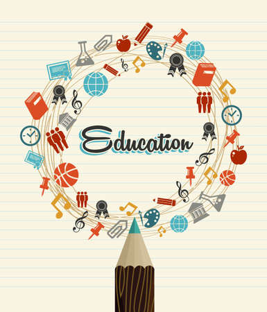 Back to School education global icons pencil over paper sheet background.