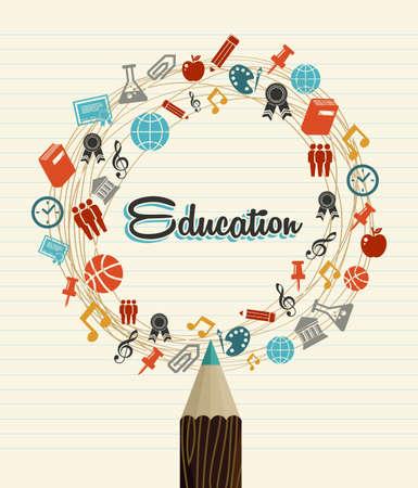 estudiar: Regreso a la escuela de educación iconos mundial lápiz sobre fondo de hoja de papel. Vectores