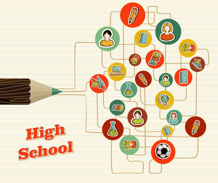 high school girl: Back to School education network icons pencil over paper sheet background.  Illustration