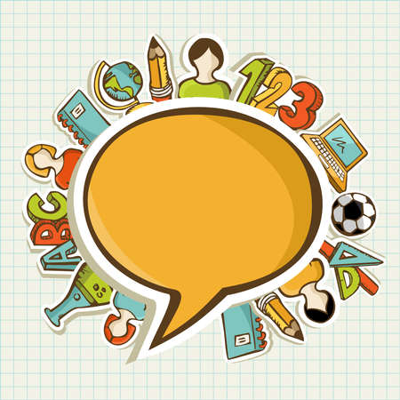 activity icon: Education back to school colorful icons around social media speech bubble.