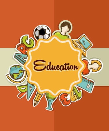 Back to School colorful icons education label over orange background. Vector