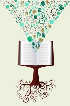 Back to School tree book education green icons.
