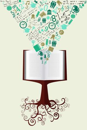 arbol de la sabiduria: Volver a la Escuela de �rboles libros educativos iconos verdes. Vectores