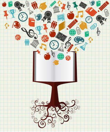leraar: Back to School boek boom onderwijs kleurrijke iconen.