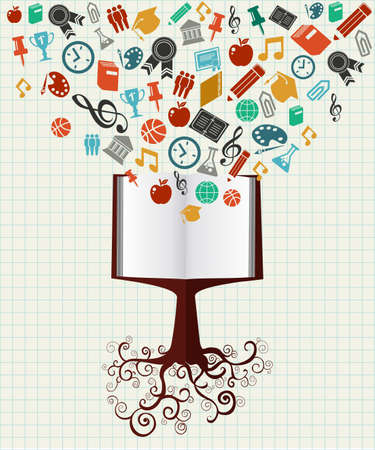 Back to School book tree education colorful icons.
