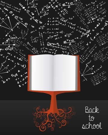 Terug naar school onderwijs kennis boek boom over wetenschap krijtbord. Stock Illustratie
