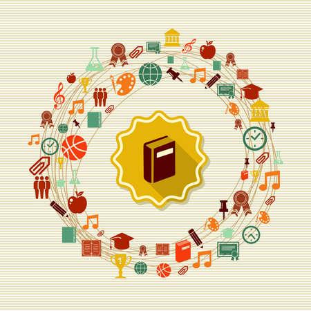 Educación de vuelta a la etiqueta libro Iconos mundial escolar. Ilustración de vector