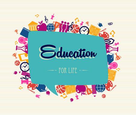 学校に戻るカラフルな世界的なアイコンを設定するソーシャル メディア音声バブル教育テキスト図の周り。