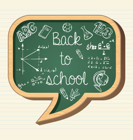 Back to school wooden chalkboard social media speech bubble icon, education elements illustration.  Vector
