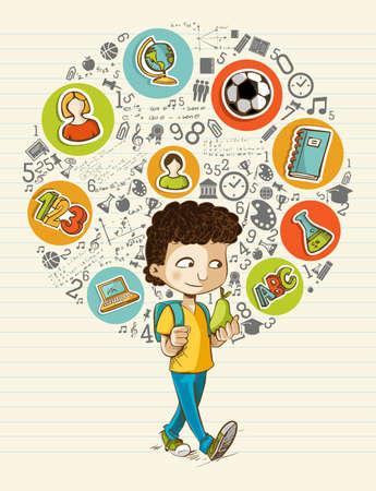 classroom supplies: Educaci�n de nuevo a historieta del muchacho coloridos iconos mundiales de la escuela. Vectores