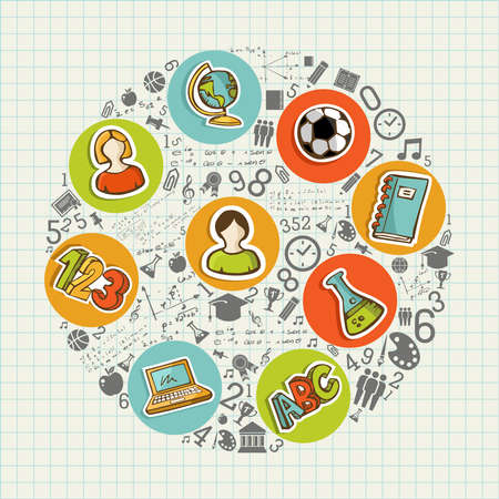 Back to School education colorful circle icons.  Vector