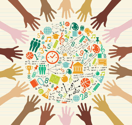 world class: Back to School global icons education diversity human hands.