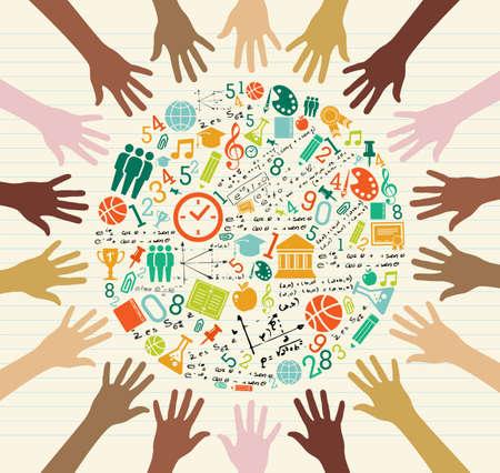 Retour à l'école icônes mondiales sur l'éducation de la diversité des mains humaines.