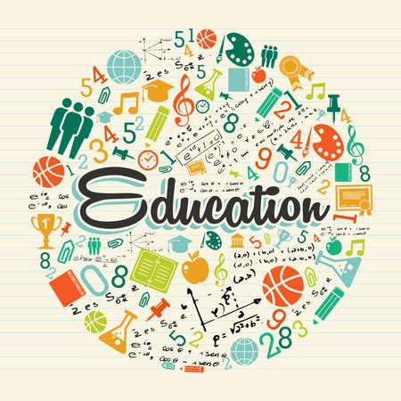 oktatás: Vissza az iskolába globális ikonok nevelés szöveg fölött papírlap háttér. Illusztráció