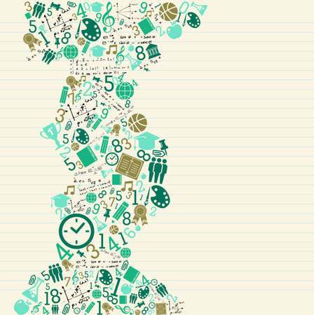 math: Back to School education green icons splash.