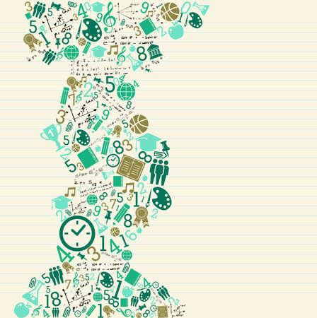 matematica: Regreso a la escuela la educaci�n verde iconos splash.