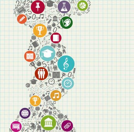 Terug naar School onderwijs kleurrijke iconen. Stockfoto - 21508156