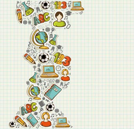 Istruzione torna a scuola icone colorate cartoon più griglia di sfondo foglio. Archivio Fotografico - 21508157