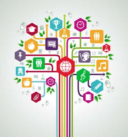 学校のカラフルなフラット アイコンに戻って教育ネットワーク ツリー。