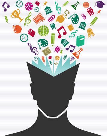 woman back of head: Ritorno a scuola icone colorate istruzione libro testa umana.