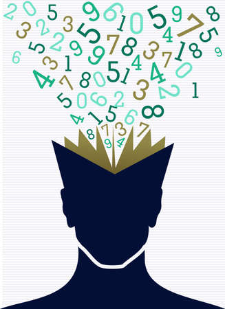 Back to School education human head book numbers.  Stock Vector - 21508162