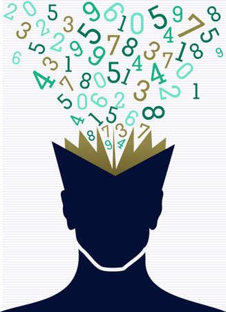 Volver a números de la agenda de la cabeza humana de educación escolar. Foto de archivo - 21508162